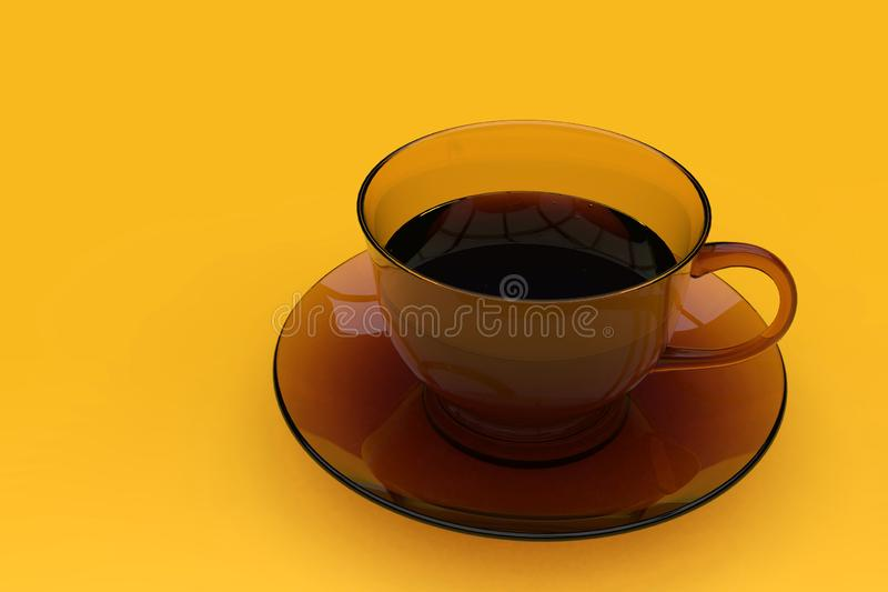 Mörk brun exponeringsglaskaffekopp, på gul bakgrund royaltyfria bilder