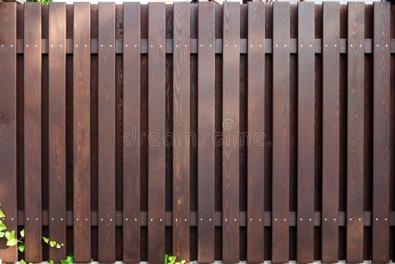 Mörk brun färg för nytt modernt trästaket royaltyfri fotografi