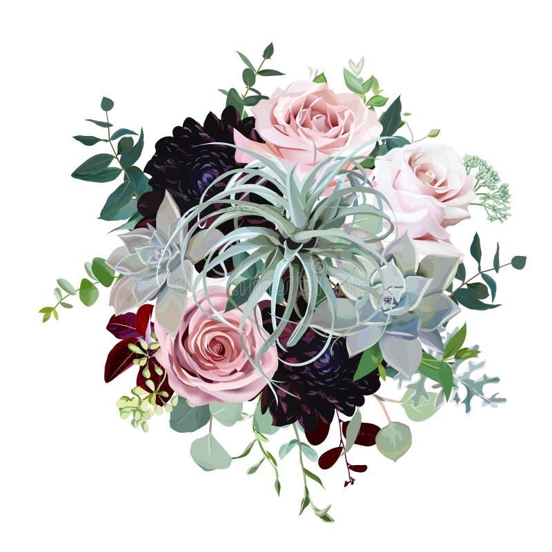 Mörk burgundy dahlia, tillandsiasuckulent, bleka rosor, eukalyptus, grönska royaltyfri illustrationer