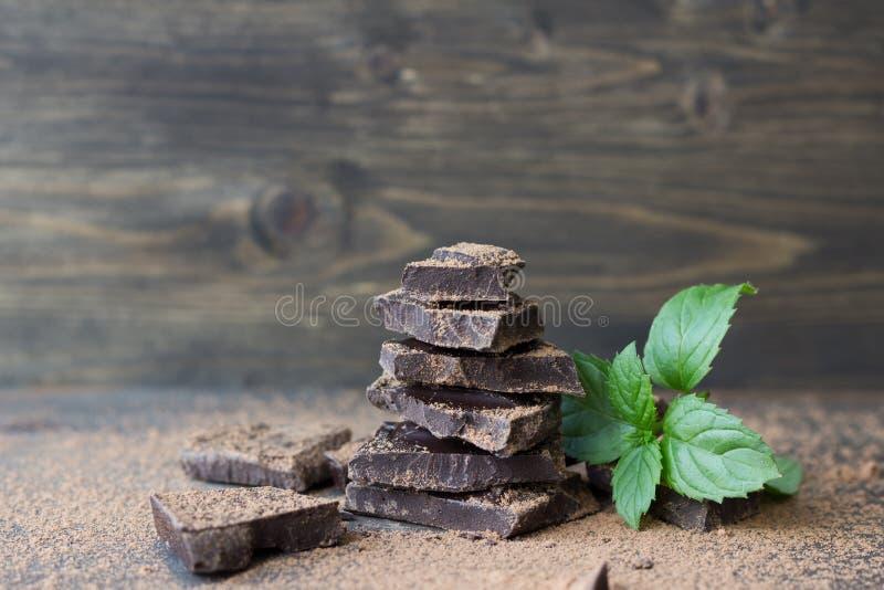 Mörk choklad med mintkaramellen som strilas med kakaopulver arkivbild