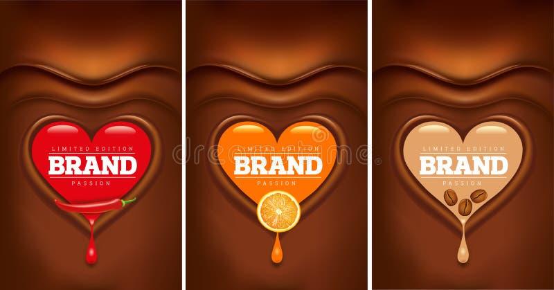 Mörk chokladhjärta med kyligt, orange, kaffebönor royaltyfri illustrationer