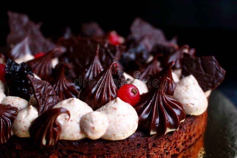 Mörk chokladkaka med klog upp kräm, ganache och bär arkivfoto