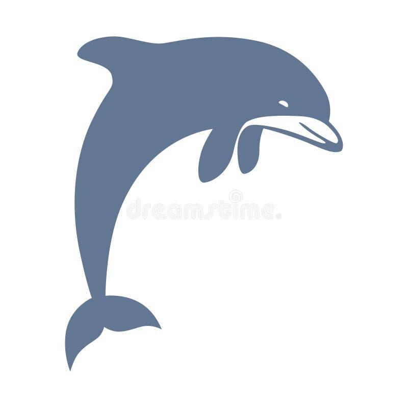 Mörk delfin - blått tecken royaltyfri illustrationer