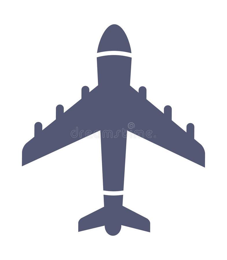 Mörk enkel flygplansymbol i plan stilvektor stock illustrationer