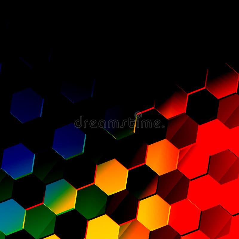 Mörk färgrik sexhörnig bakgrund Unik abstrakt sexhörningsmodell Plan modern illustration Vibrerande texturdesign stil vektor illustrationer