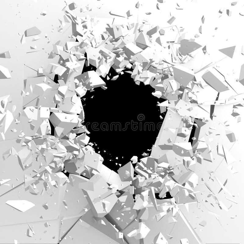 Mörk förstörelse knäckte hålet i den vita stenväggen royaltyfria foton