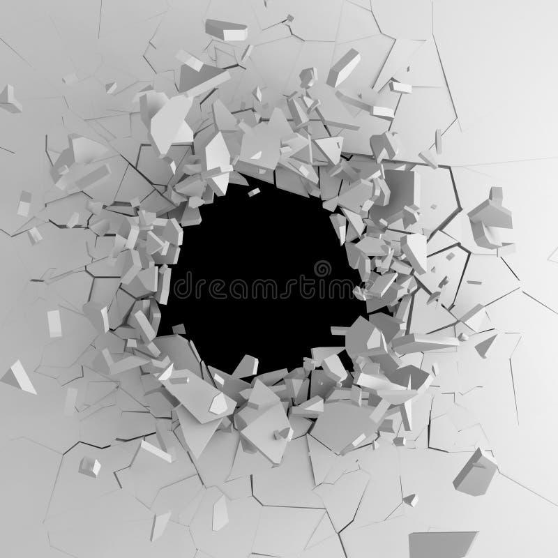 Mörk förstörelse knäckte hålet i den vita stenväggen royaltyfria bilder