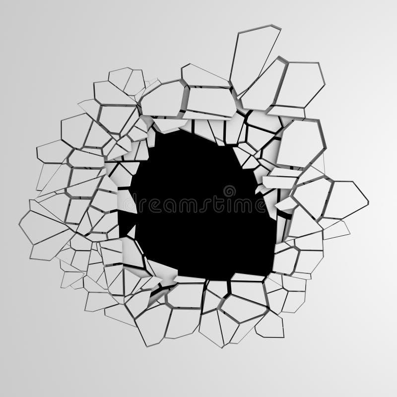 Mörk förstörelse knäckte hålet i den vita stenväggen royaltyfri fotografi