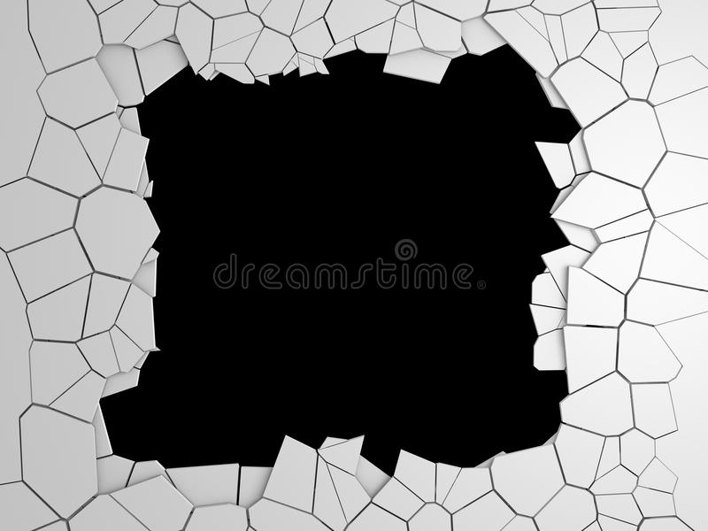 Mörk förstörelse knäckte hålet i den vita stenväggen fotografering för bildbyråer
