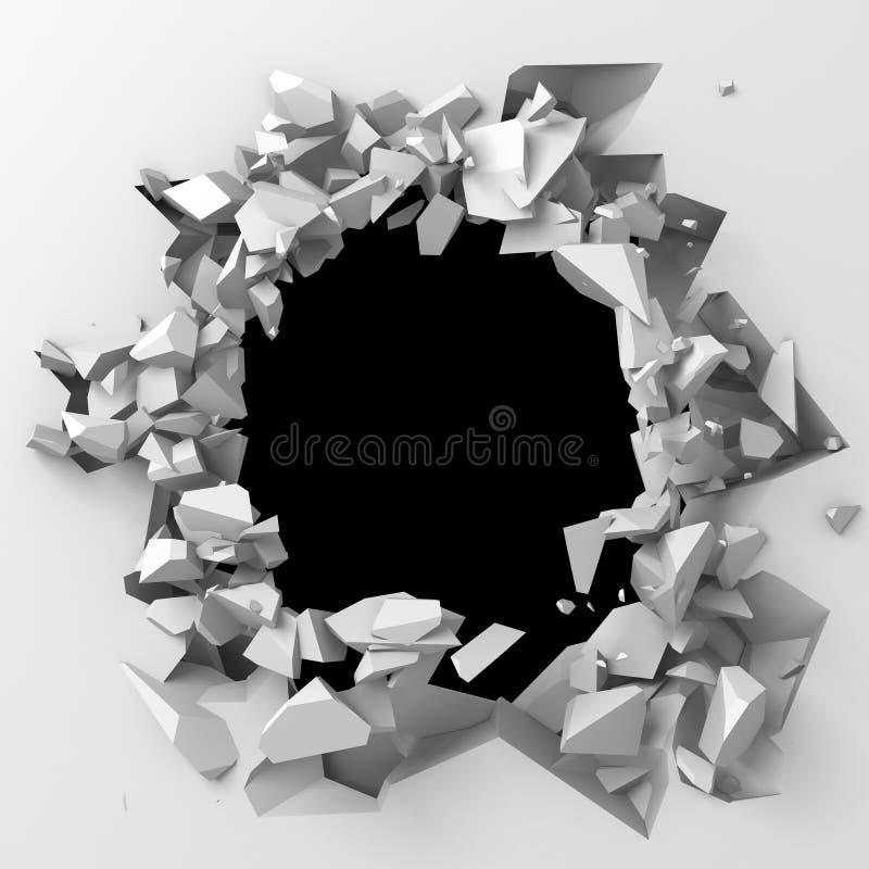 Mörk förstörelse knäckte hålet i den vita stenväggen royaltyfri bild