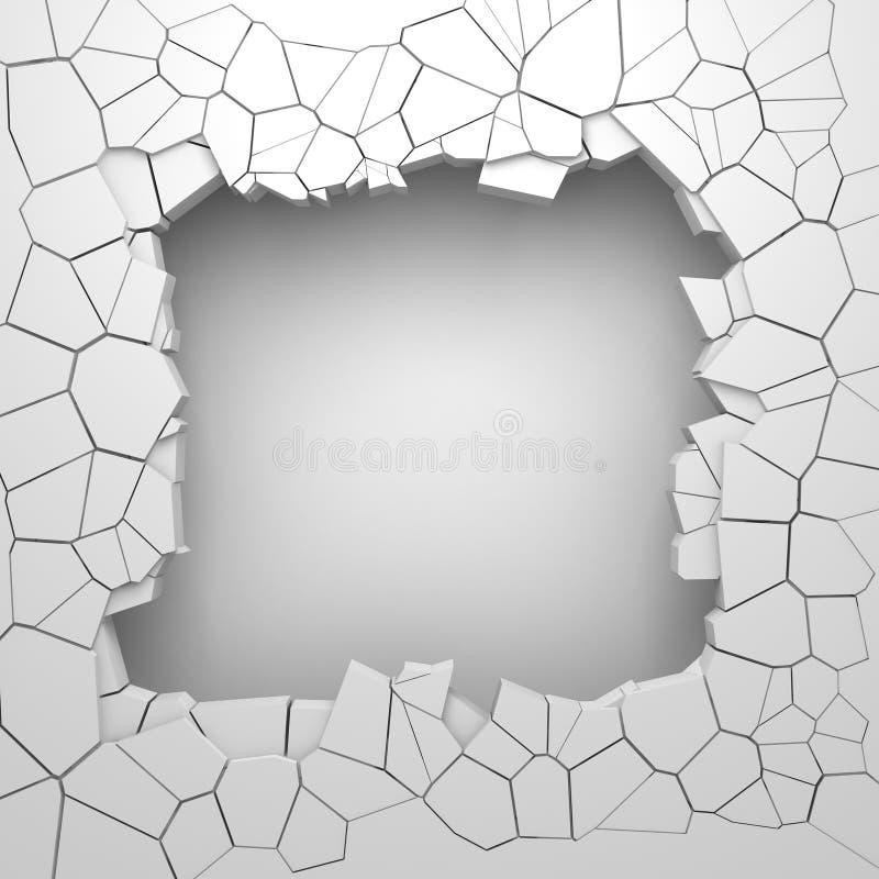 Mörk förstörelse knäckte hålet i den vita stenväggen royaltyfri foto