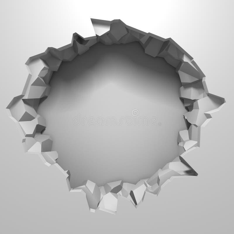 Mörk förstörelse knäckte hålet i den vita stenväggen arkivfoto