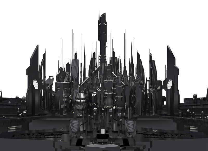 Mörk futuristisk stad framförande 3d stock illustrationer
