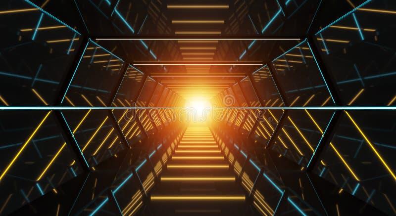 Mörk futuristisk tolkning för rymdskeppkorridor 3D royaltyfri illustrationer