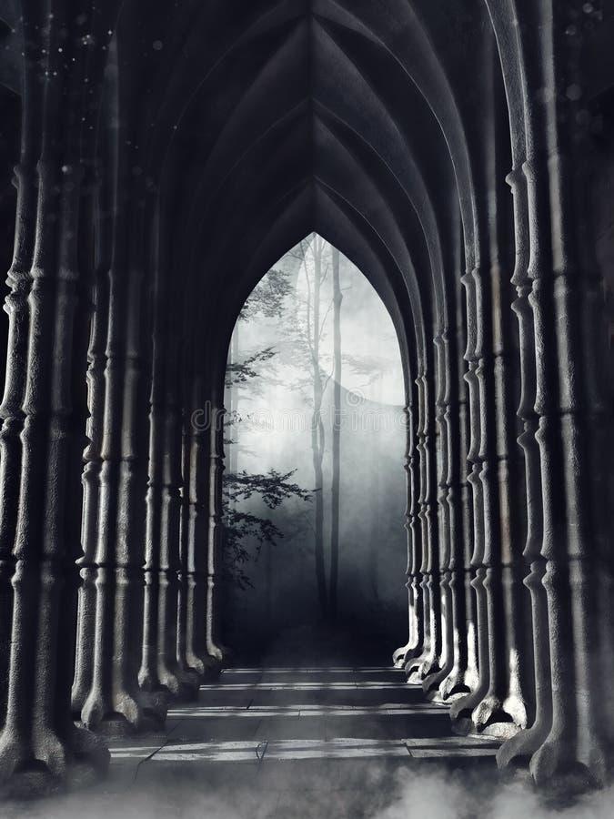Mörk gotisk korridor med kolonner vektor illustrationer