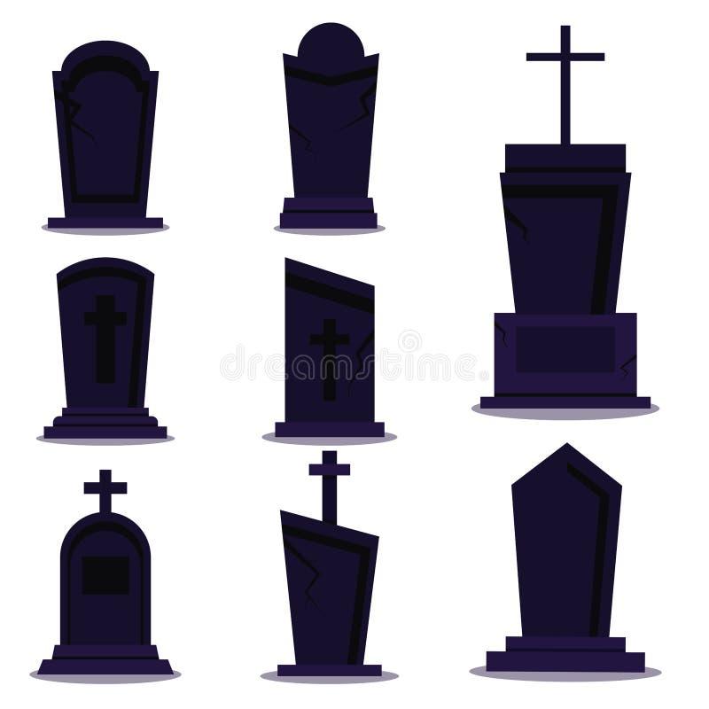 Mörk gravstenuppsättning för lycklig halloween ferie på vit bakgrund med skugga royaltyfri illustrationer