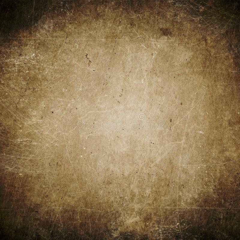 Mörk grungebakgrund, brunt, pappers- textur, damm, smuts, fläckar royaltyfria bilder