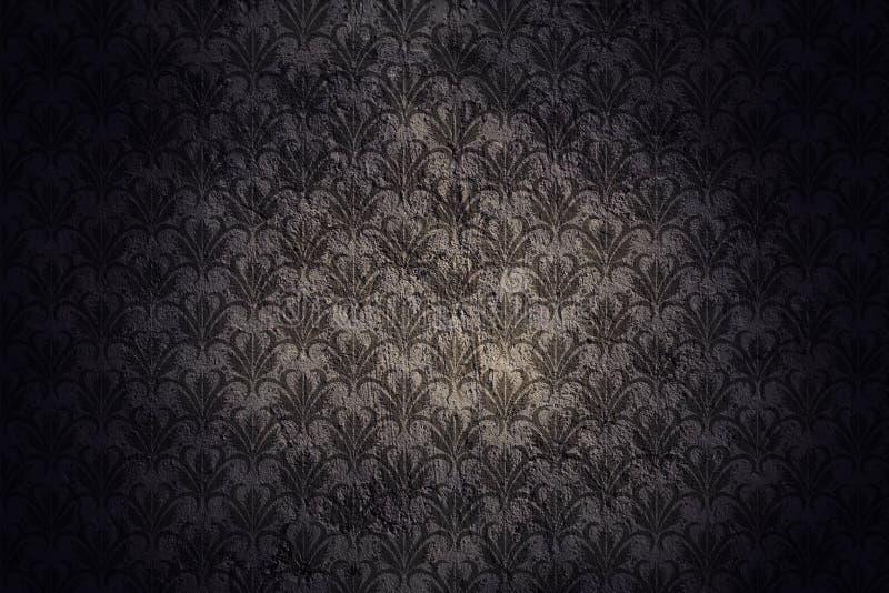 Mörk Grungeväggbakgrund med den Retro modellen royaltyfri bild