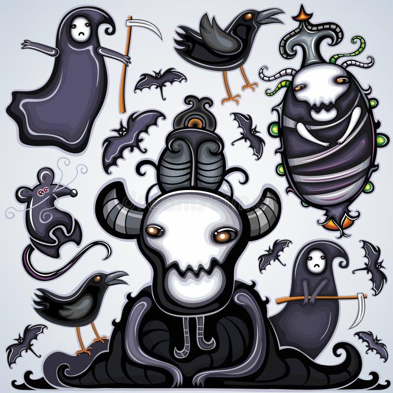 mörk halloween set royaltyfri illustrationer