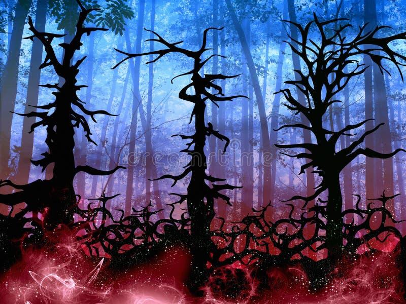 Mörk halloween träbakgrund med vridna träd royaltyfri illustrationer