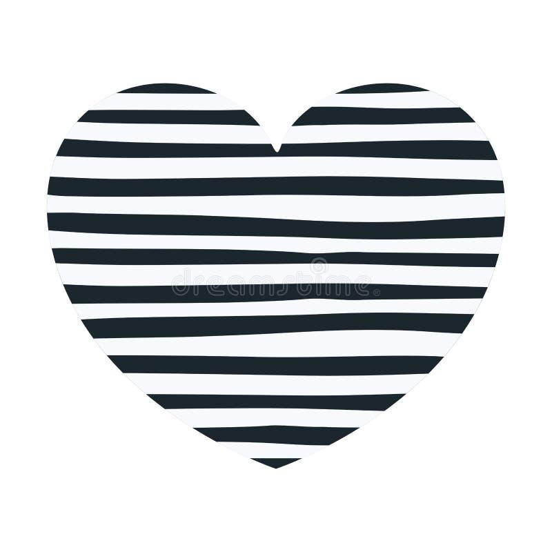 Mörk handteckning - blålinjen i dekorativ hjärtaform stock illustrationer