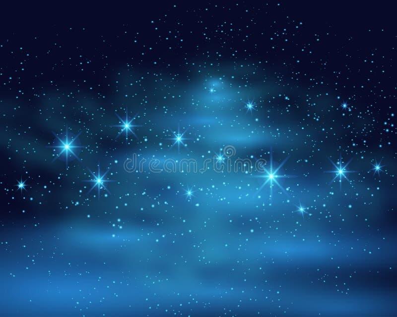 Mörk himmelbakgrund för kosmiskt utrymme med den blåa ljusa glänsande stjärnanebulosan på nattvektorillustrationen stock illustrationer