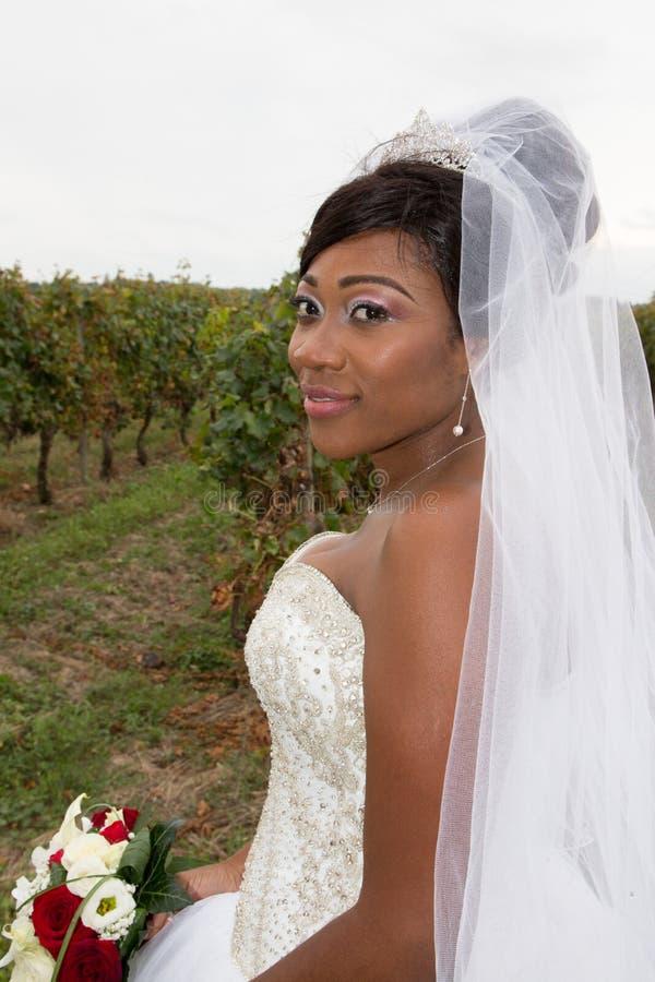 Mörk hudbrud i kvinnan för afican amerikansk mörk hud för wineyards den nätta för att gifta sig arkivbilder