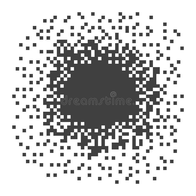 Mörk illustration för PIXEL Beståndsdelen upplöser in i många fyrkanter Vektorobjekt som isoleras p? bakgrund vektor illustrationer