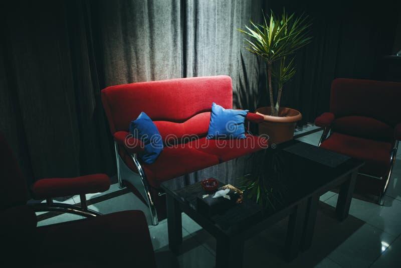 Mörk inre med en röd soffa royaltyfria bilder