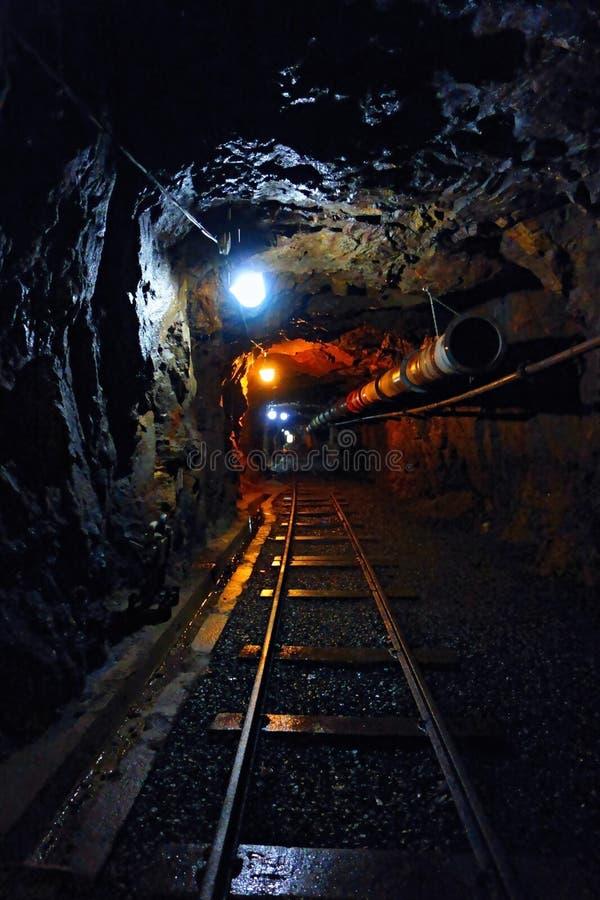 Mörk korridor av uranminen royaltyfri bild