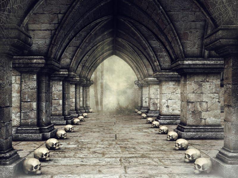 Mörk korridor med skallar royaltyfri illustrationer
