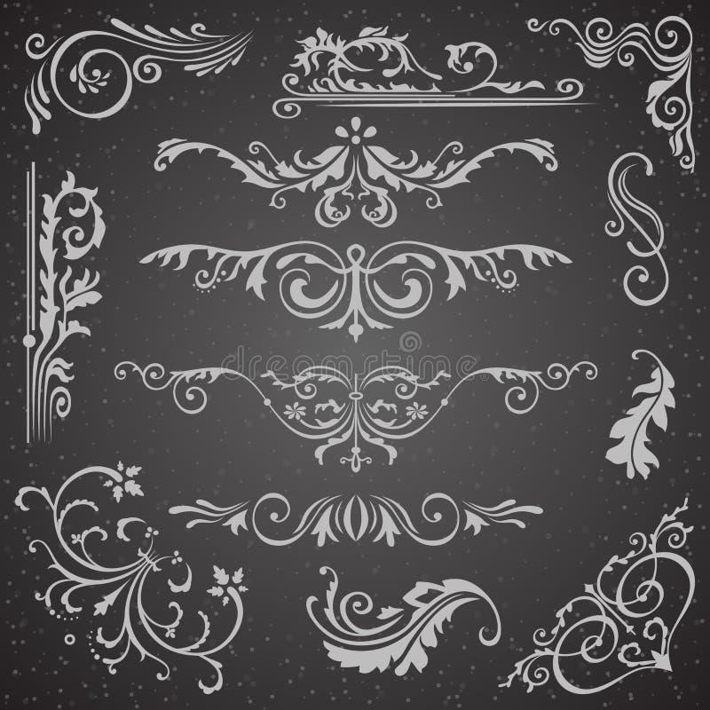 Mörk krusidullgränshörn och rambeståndsdelsamling Vektorkortinbjudan Calligraphic viktoriansk Grunge royaltyfri illustrationer