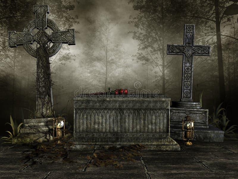 Mörk kyrkogård med kors stock illustrationer