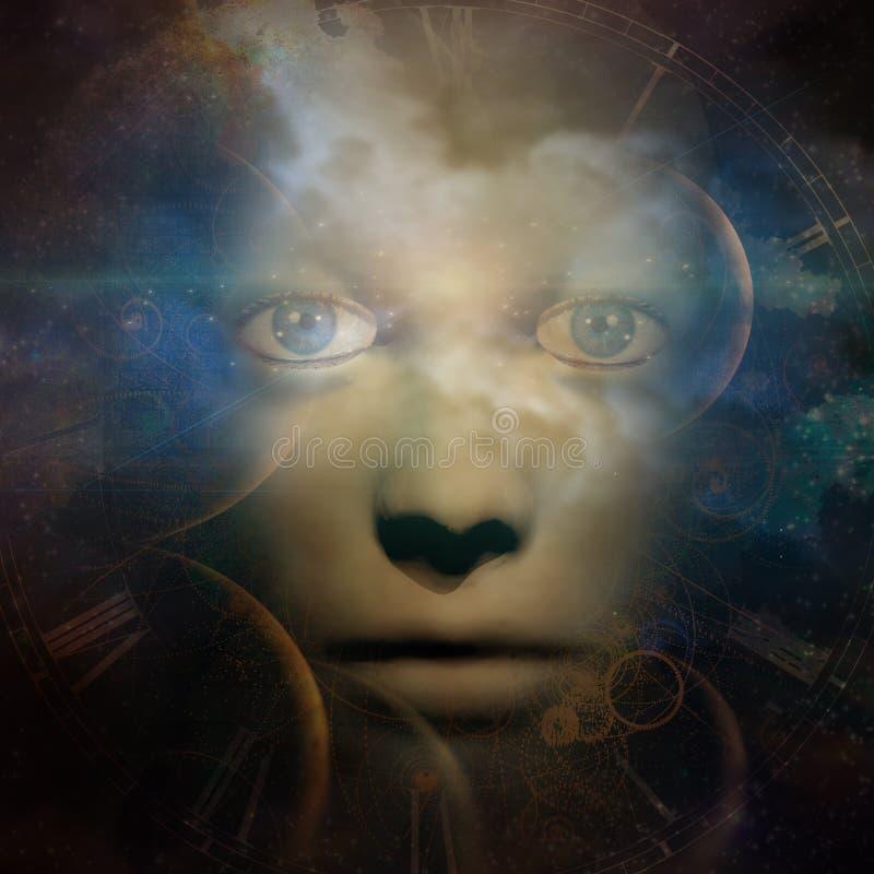 Mörk mänsklig framsida med abstrakt utrymmebakgrund royaltyfri illustrationer