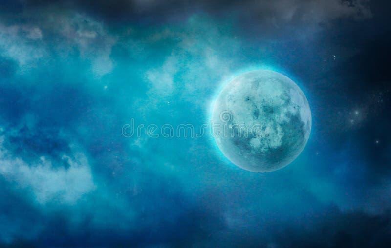 Mörk måne i moln moon stjärnor arkivbild