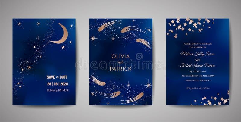 Mörk magisk natt - blå himmel med inbjudan för brusandestjärnabröllop Ställ in av räddning som datumkorten med guld blänker pulve royaltyfri illustrationer