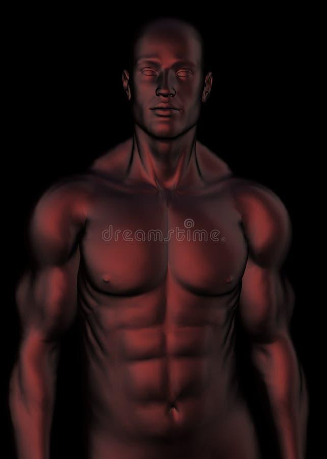 mörk male röd torso royaltyfri illustrationer