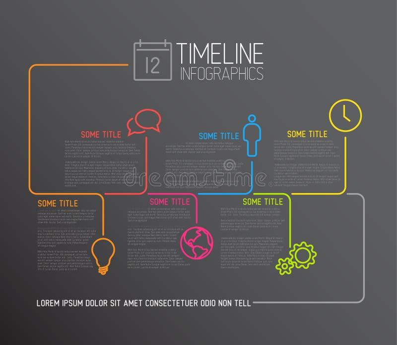 Mörk mall för Infographic timelinerapport med linjer vektor illustrationer