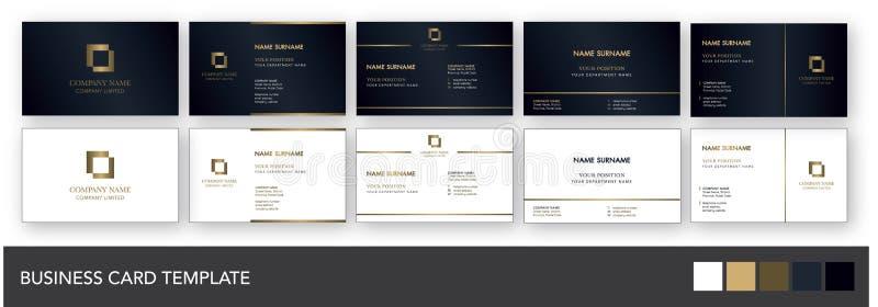 Mörk mall för marin- och guldaffärskort vektor illustrationer