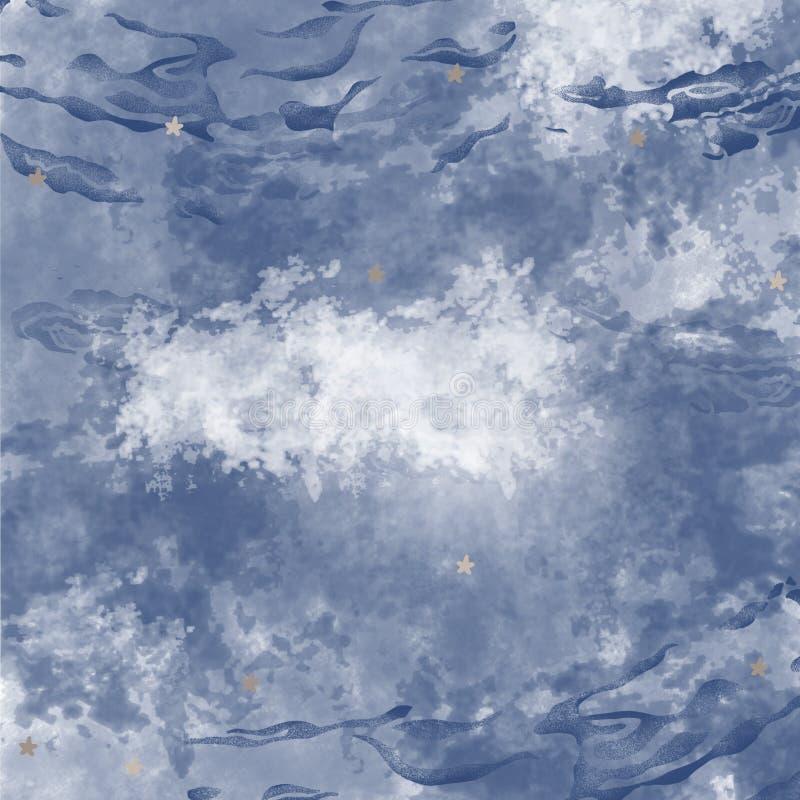 Mörk marin- seascape med strålljus, djupt hav som är undervattens- för bruk som vattenbakgrund arkivbild