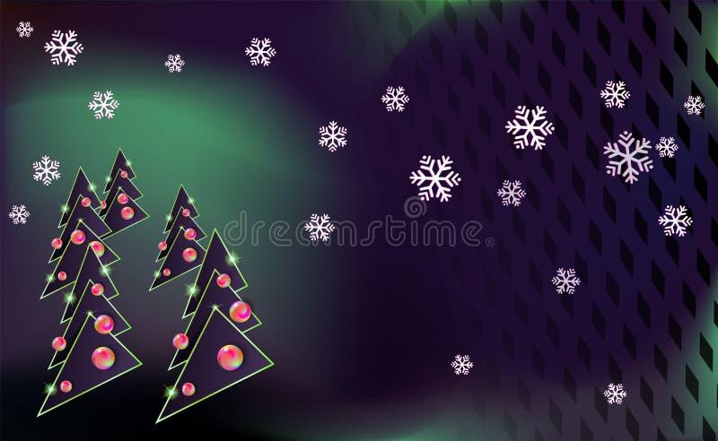 Mörk modern bakgrund för glad jul med den gröna och svarta granen och prydnader från flerfärgade bollar För nytt år på bakgrunden royaltyfri illustrationer
