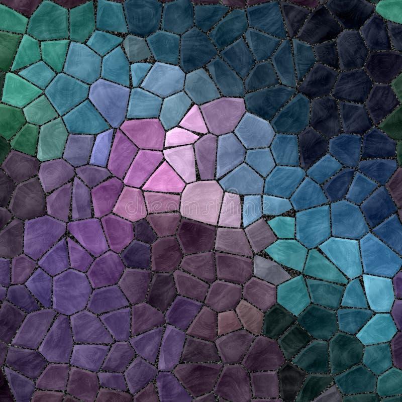 Mörk purpurfärgad violett blå gräsplan färgade för mosaikmodellen för abstrakt marmor ojämn plast- stenig bakgrund för textur med vektor illustrationer