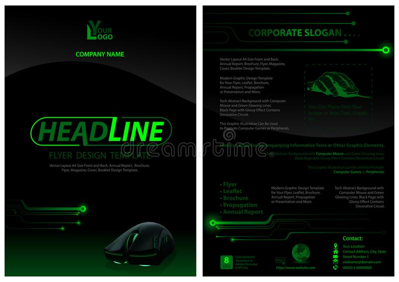 Mörk reklambladmall med datormusen vektor illustrationer