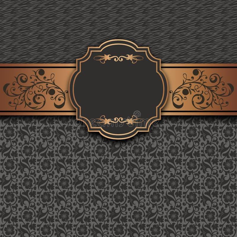 Mörk retro bakgrund med den guld- gränsen och blom- modeller royaltyfri illustrationer