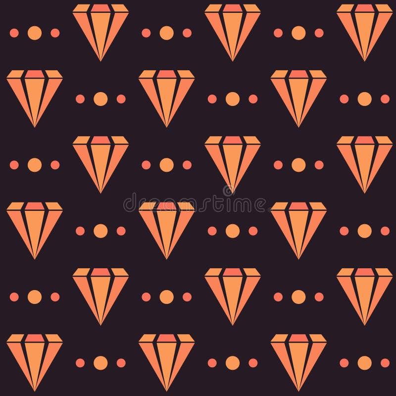 Mörk retro sömlös modell med orange diamanter och prickar royaltyfri illustrationer