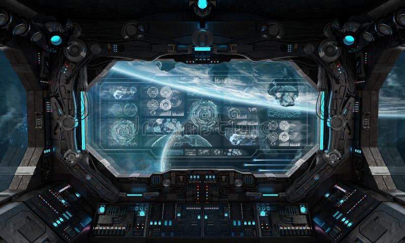 Mörk rymdskeppinre med beträffande digitala skärmar 3D för kontrollbord stock illustrationer