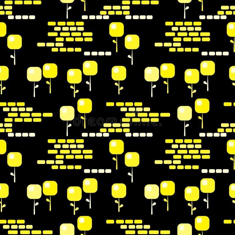 Mörk sömlös bakgrund för guld- blommor stock illustrationer