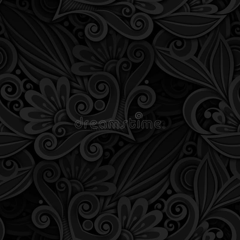Mörk sömlös modell för vektor med den blom- prydnaden stock illustrationer