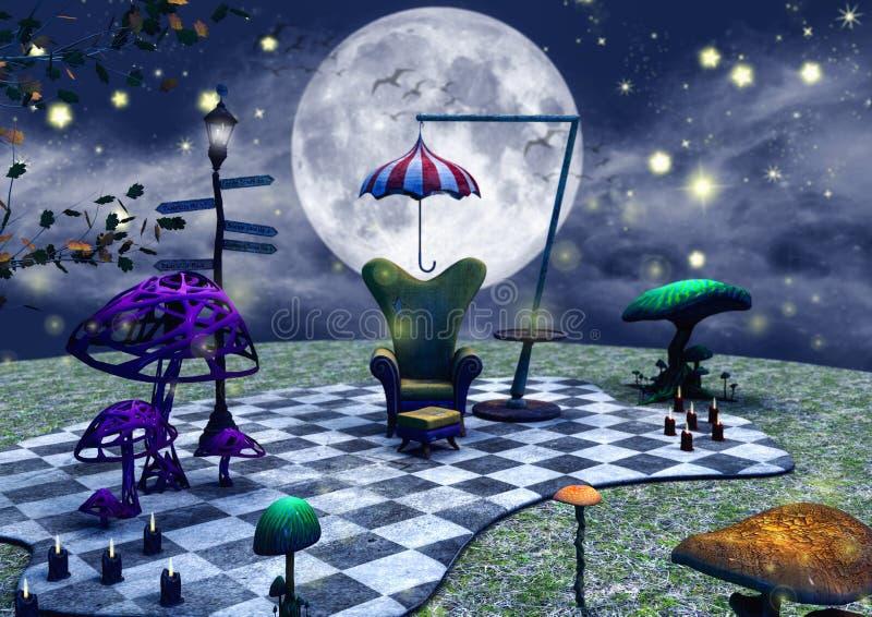 Mörk sagaplats av en soffa, och paraply, stearinljus och champinjoner vektor illustrationer