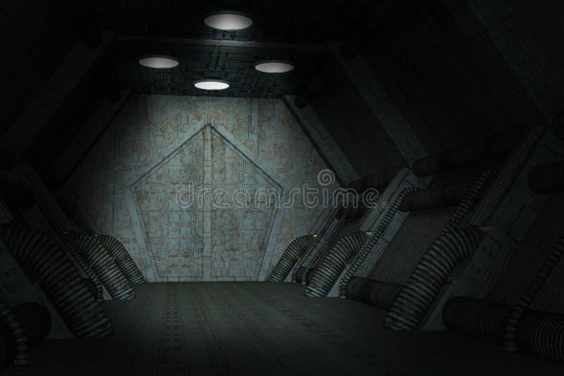 Mörk sciencerymdskeppbakgrund royaltyfri illustrationer